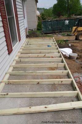 How To Build A Porch Over Concrete Building A Porch Porch Remodel Deck Over Concrete