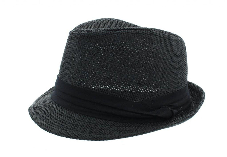 56cm Kids White Straw Fedora Hats For Children Boys Summer