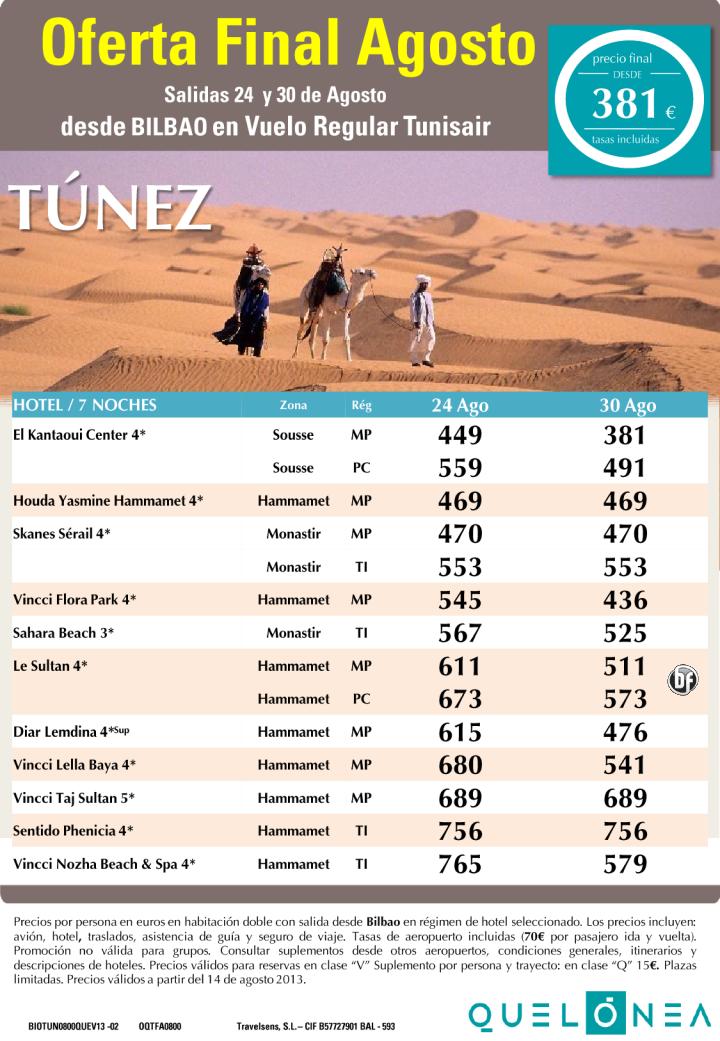 Oferta Túnez Final Agosto Salidas 24 y 26 desde BILBAO - http://zocotours.com/oferta-tunez-final-agosto-salidas-24-y-26-desde-bilbao/