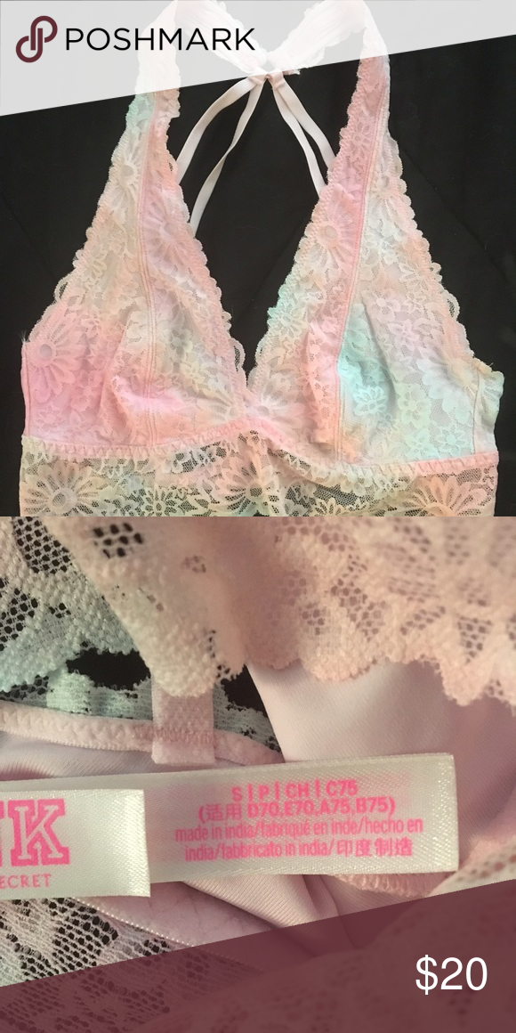 00fd32c4c3 Victoria s Secret Lace Bralette NWT. Light pink and blue lace ...