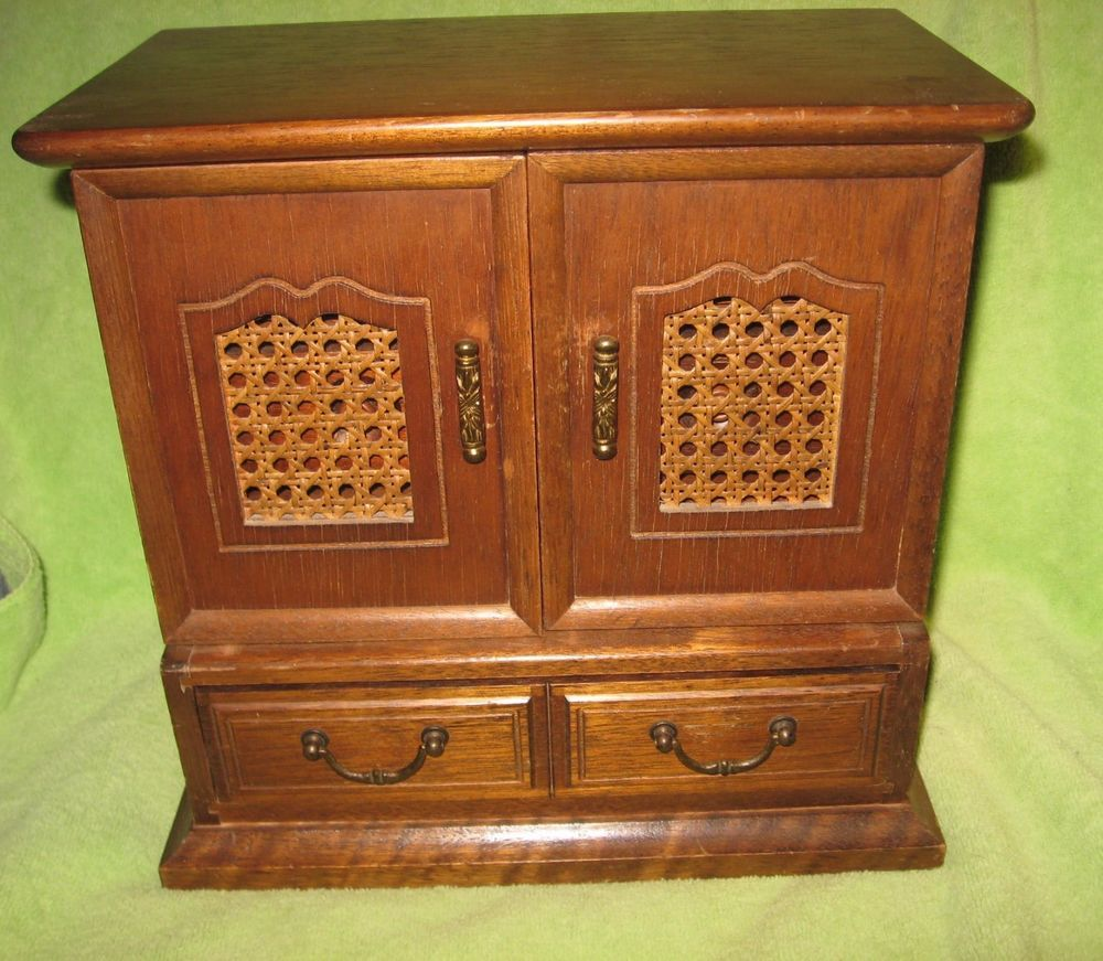Vintage large wood jewelry box Wardrobe Style 7 drawers Stuff to