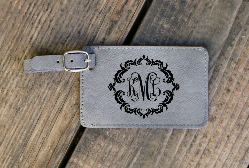 Monogram Luggage Tag Engraved Travel Tag With Damask Frame Travel