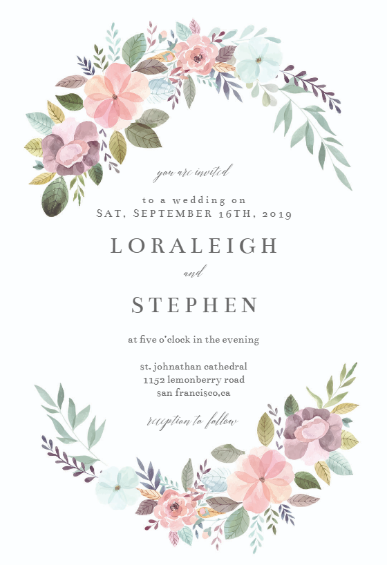 Soft Floral Wedding Invitation Template Greetings Island Floral Wedding Invitations Printable Free Printable Wedding Invitations Free Wedding Invitation Templates