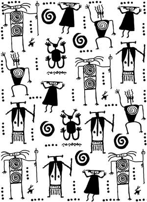 Petroglyph Warriors Background Unmounted Rubber Stamp Cdices