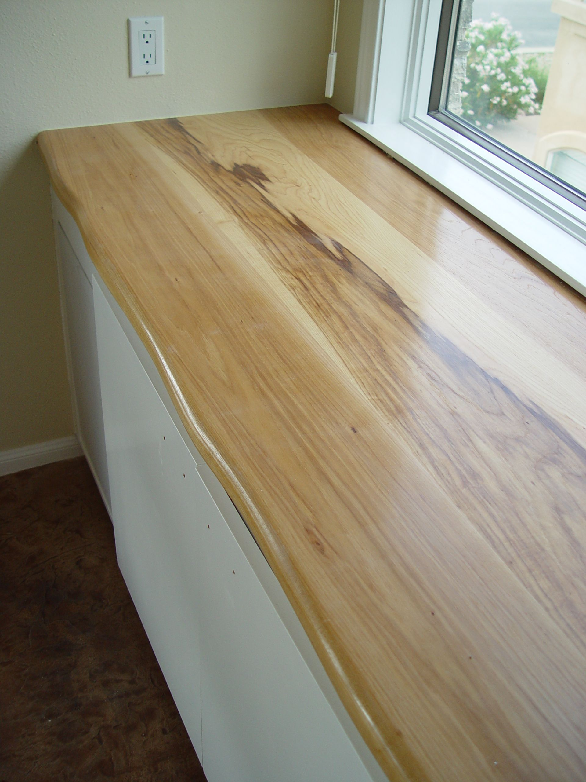 Custom Solid Wood Face Grain Pecan Counter Top With Natural Wane