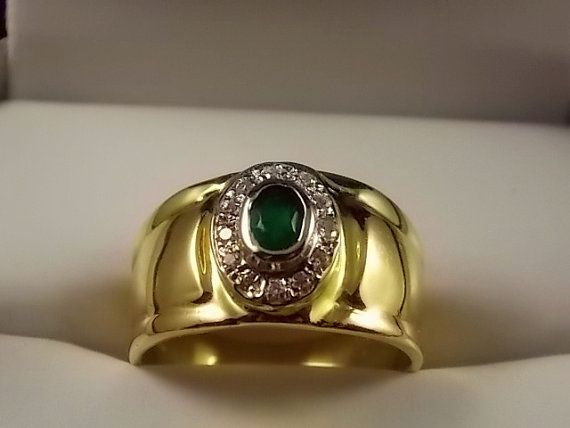 Emerald and Diamond Cigar Band Ring 12mm wide by estatejewelryshop