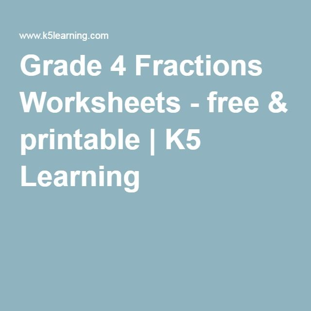Grade 4 Fractions Worksheets - free & printable | K5 Learning ...