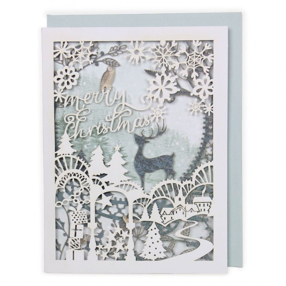 Merry Christmas white laser-cut stag card | Laser * + Paper cut ...