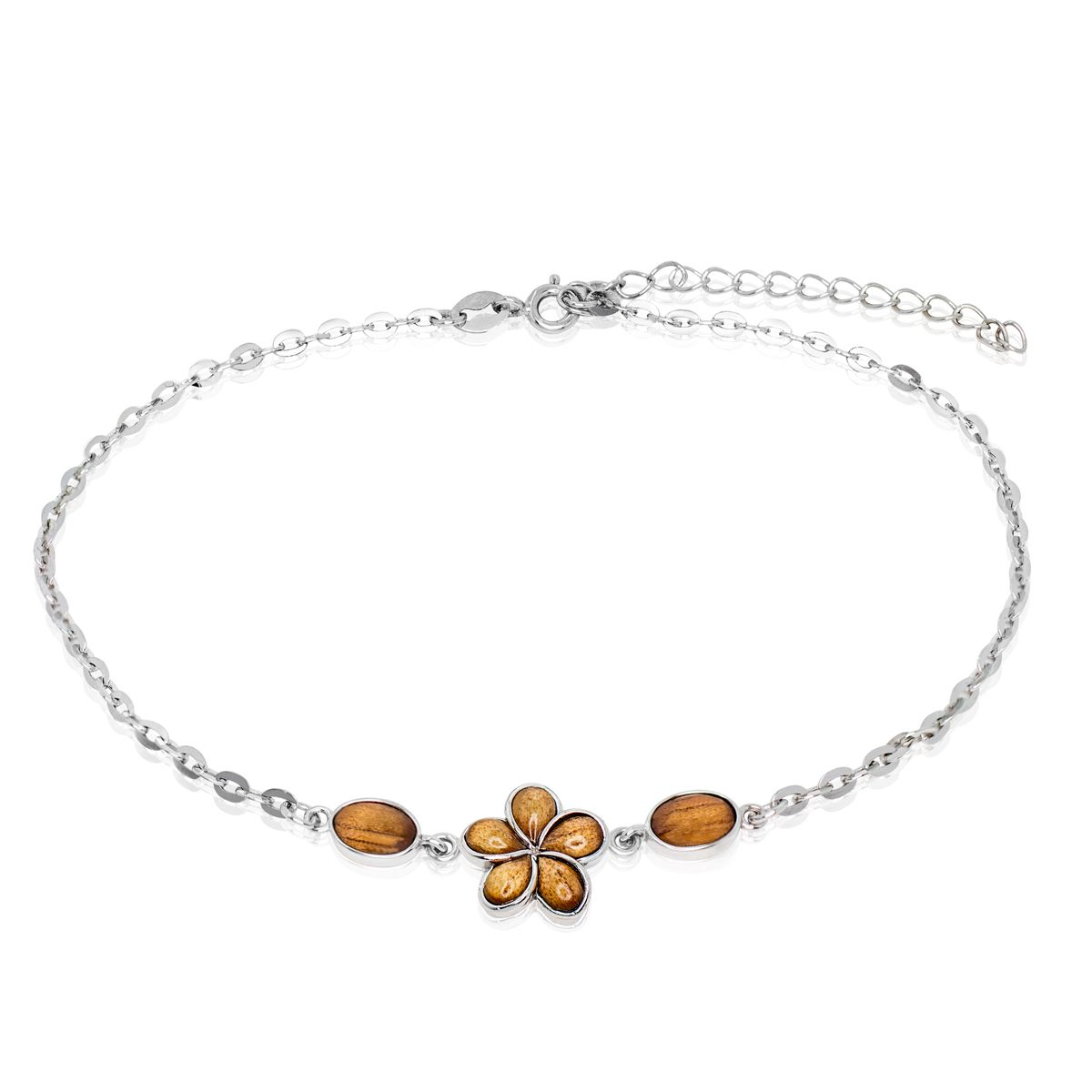 chain plumeria anklet with all sterling foot silver hawaiian pin cz