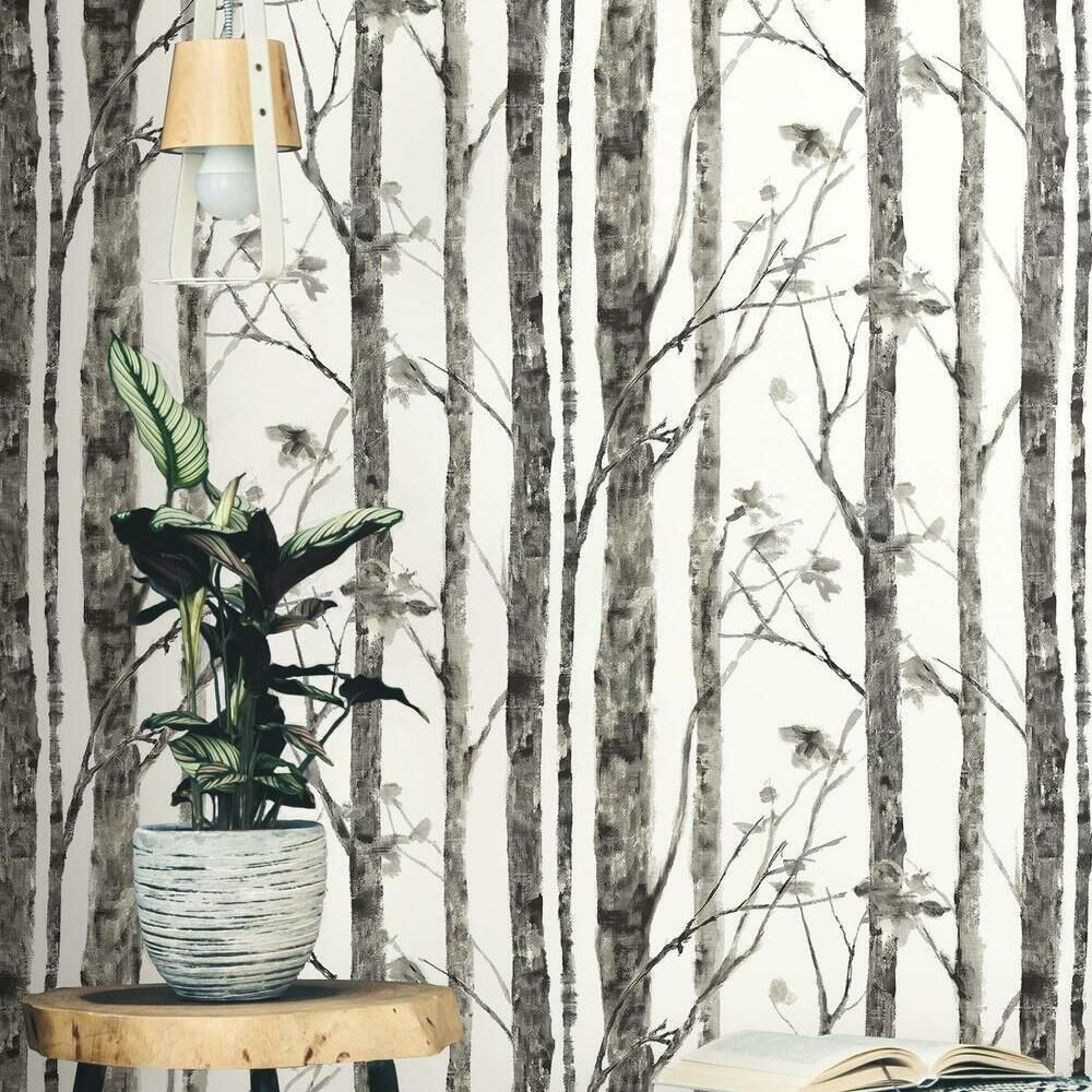 Photo of Trees Peel and Stick Wallpaper – Small Sample / Brown