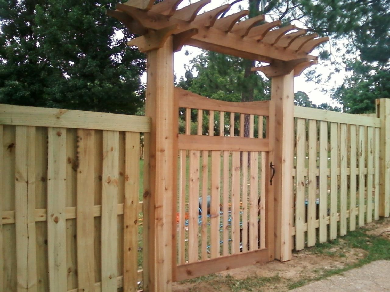 Walk In Garden Box: Shadow Box Fence With Top Trim With Designer Walk Gate And