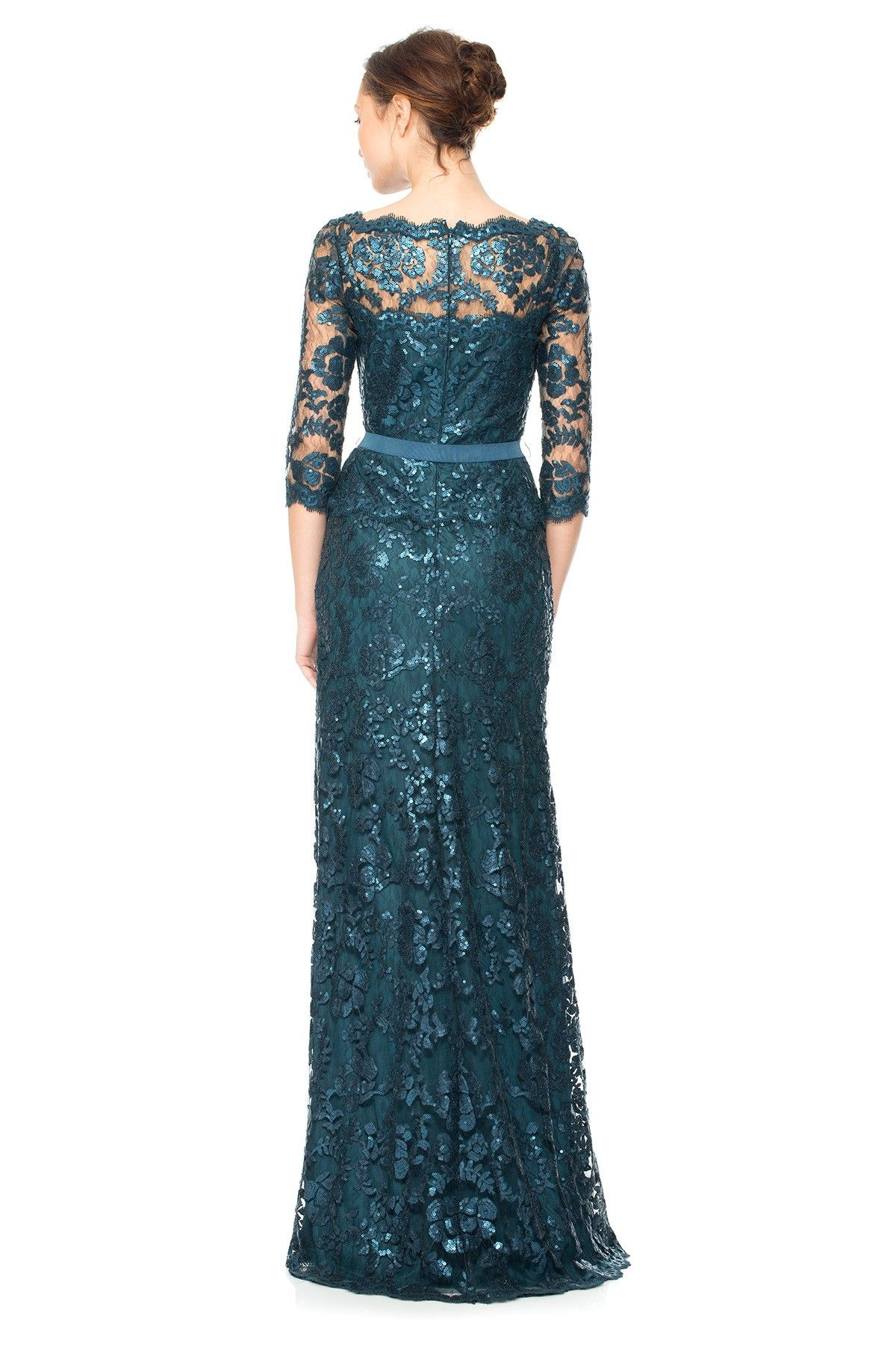 92be3d972e8 Paillette Embroidered Lace ¾ Sleeve Gown