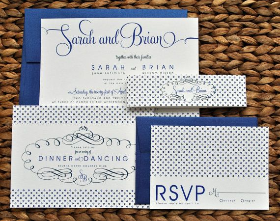 Tricia Polka Dot Wedding Invitation Suite with Belly Band - Royal Cobalt and Navy Blue, customizable