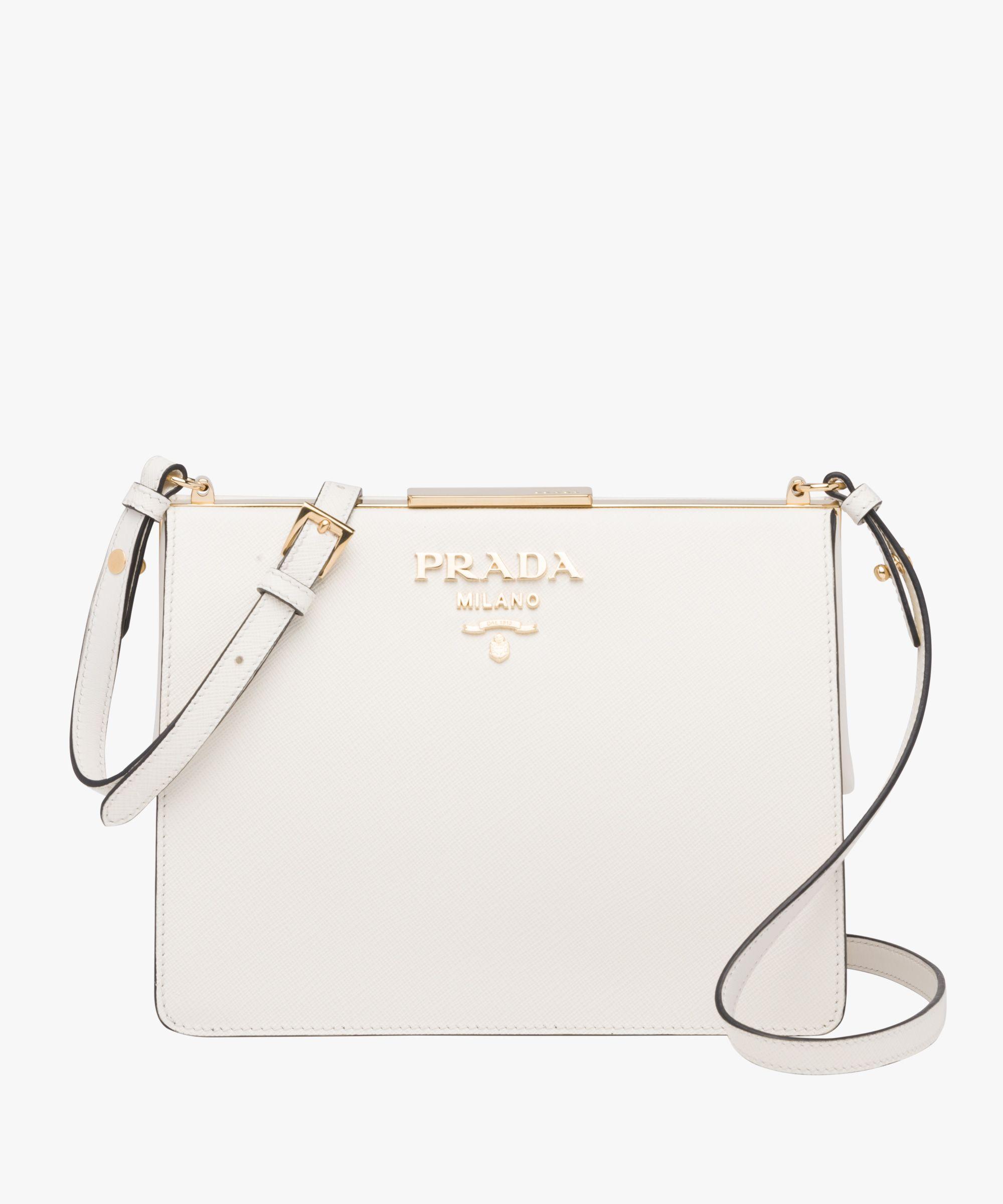 Prada Light Frame Saffiano leather bag Prada WHITE  27b04b48ecdca