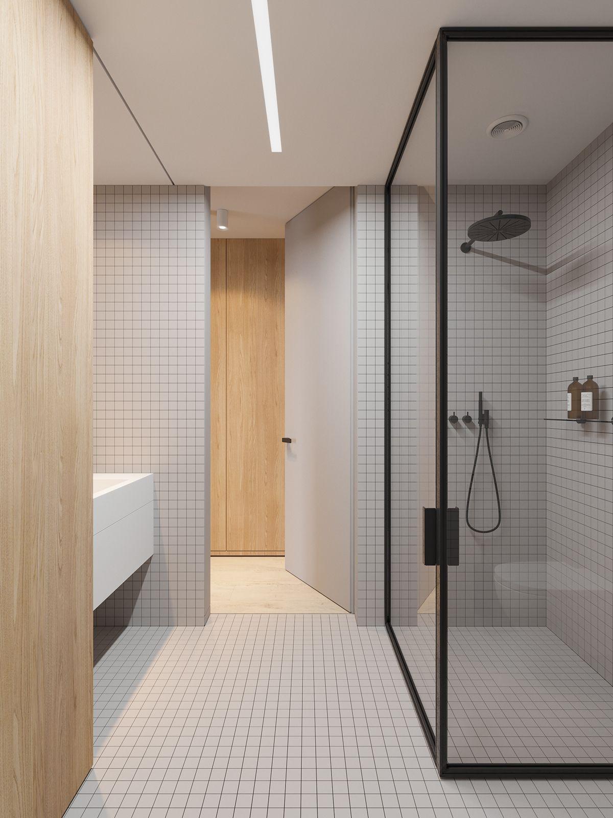 Square Tiles Minimalistisches Badezimmer Badezimmer Einrichtung