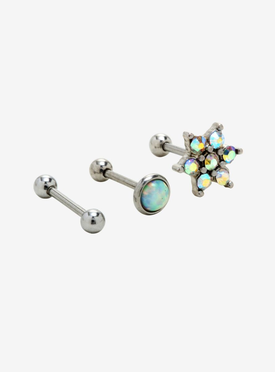 18g Steel Opal Flower Cartilage Stud 3 Pack In 2019 Products