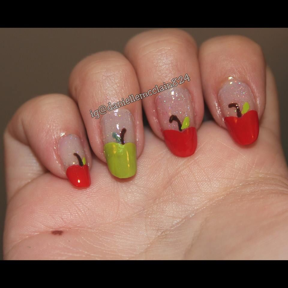 some back to school of fall themed nails with red and green apples ...