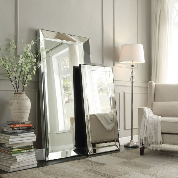 Inspire q omni beveled mirrored frame rectangular floor for Framed floor mirror