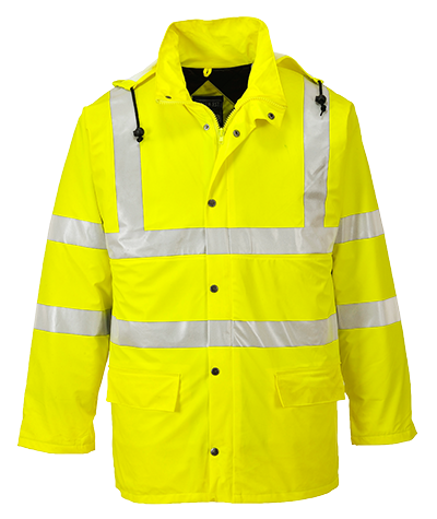 Portwest UB315 Reflective Hi-Vis Yellow Two-Tone Safety Work Zipped Hoodie ANSI