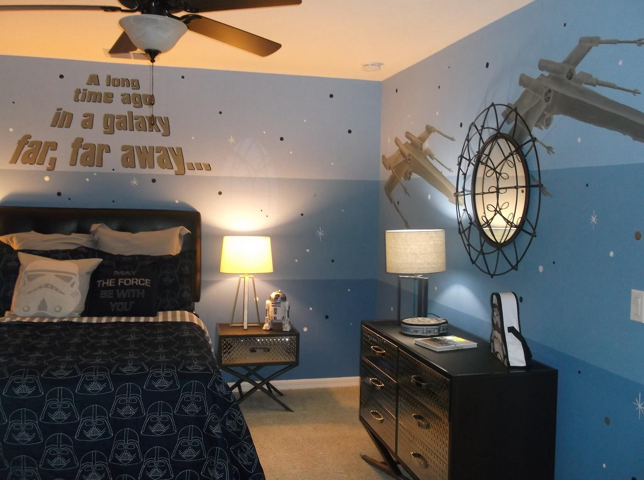 Fun Star Wars Room I Painted For Designer Tanya Mcculloch In Orlando This Room Would Be Great For Al Star Wars Bedroom Star Wars Kids Room Star Wars Boys Room