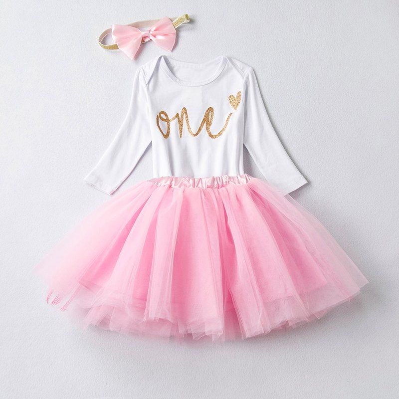 38a890f242ee  1st Birthday   Outfits   3PC set  Newborn  Baby  Girl  Princess  Party Baby   Romper+Tutu  Girl  Clothing  Little Girl