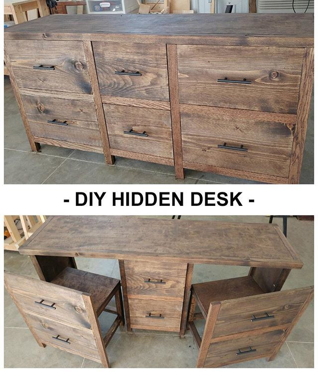 Hide a desk anywhere! Guest submitted brag post Google ana white hidden desk for plans #desk #furniture #anawhite #diyfurniture #build #woodworking #woodwork #homeoffice #homeofficeideas #homeofficedesign #anawhite