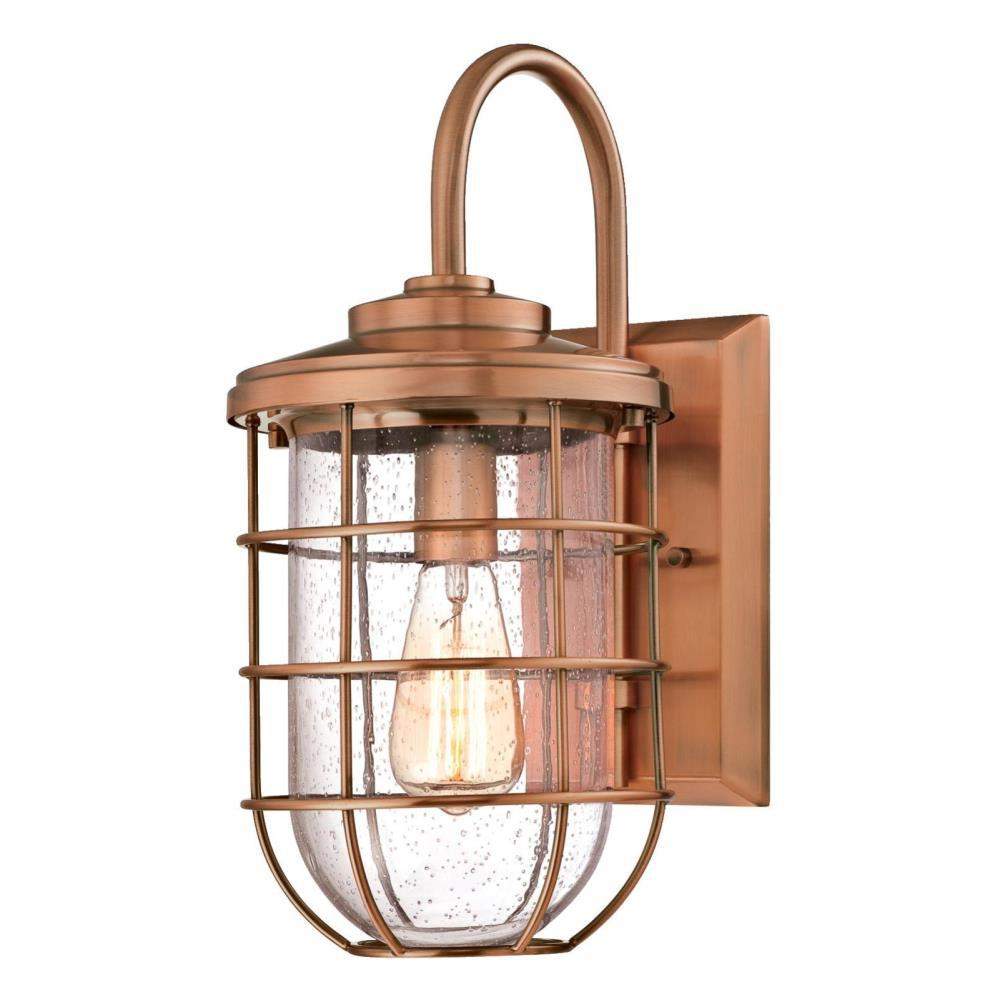 Westinghouse Ferry 1 Light Washed Copper Outdoor Wall Lantern Sconce 6347900 The Home Depot Copper Outdoor Lighting Outdoor Wall Lantern Outdoor Wall Sconce