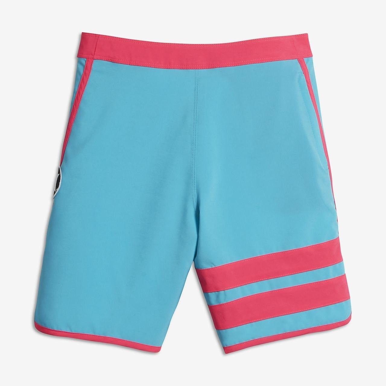 Geometric Art Modern Brown Blue Fashion Swim Trunks BingGuiC Boys Quick Dry Shorts