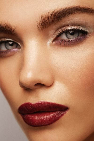 Simple elegant stunning beauty red lips and glowing skin holiday festive glam