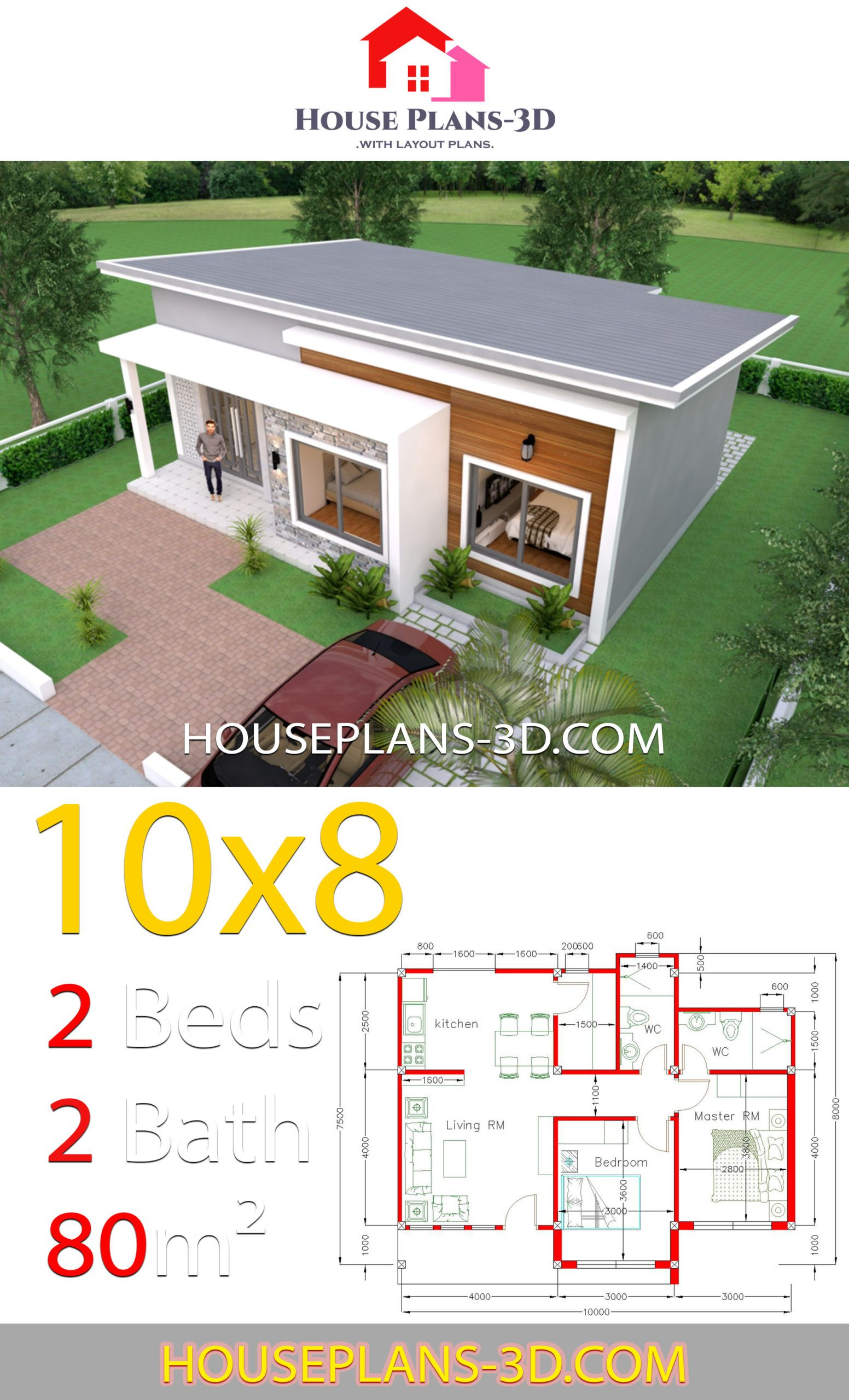 House Plans 10x8 With 2 Bedrooms Shed Roof House Plans 3d House Plans House Construction Plan House Roof
