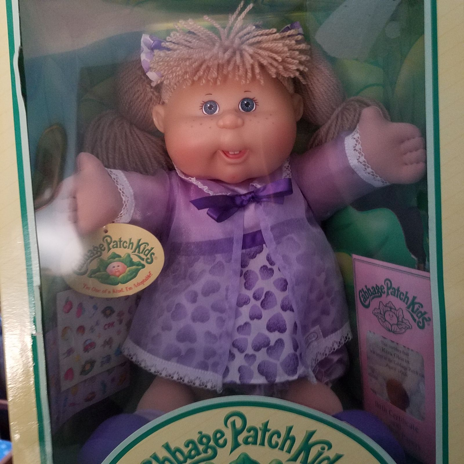 Shes Nib Never Taken Out Beautiful Purple Dress And Beautiful Doll Cabbage Patch Dolls Cabbage Patch Kids Patch Kids
