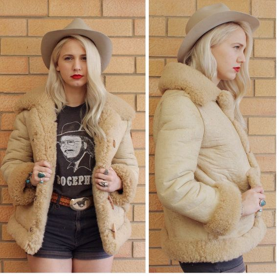 Stunning vintage 70s shearling suede sheepskin coat with raglan ...