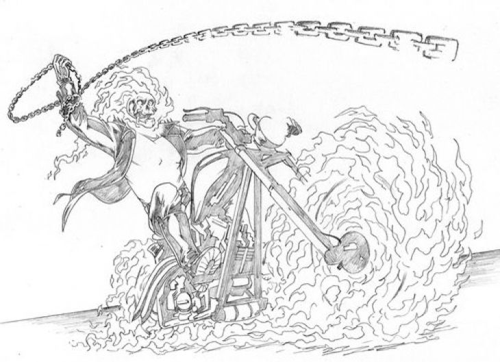 free ghost rider coloring page
