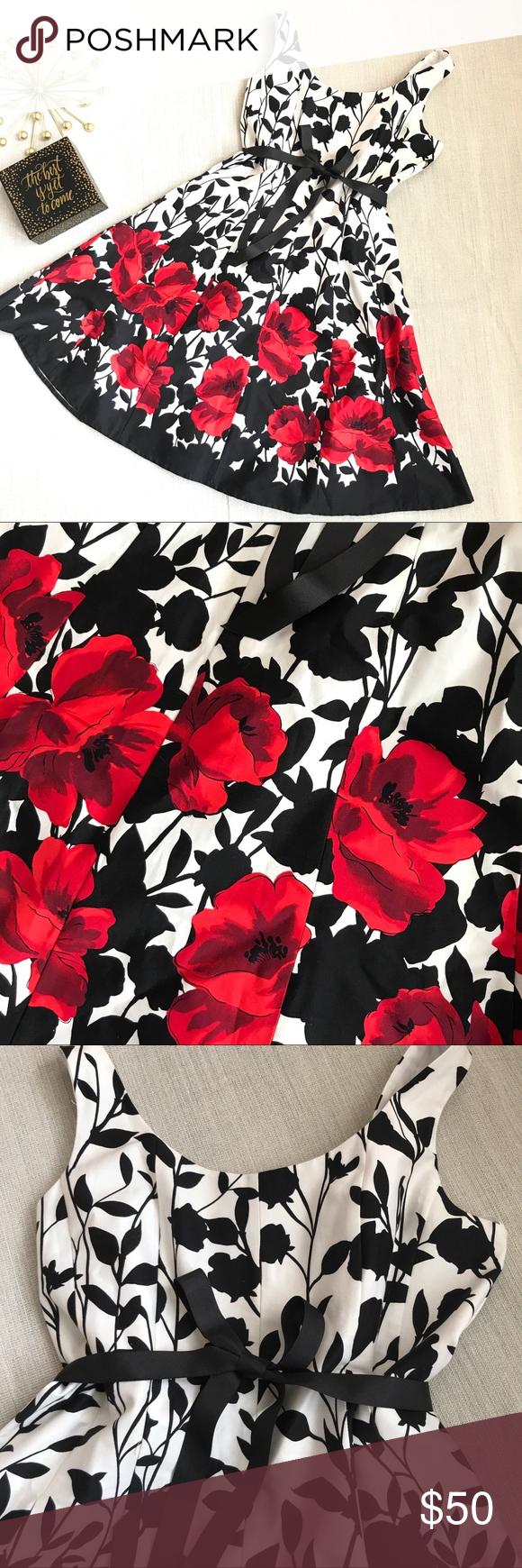Jessica Howard White Black Dress W Red Flowers Swing Dress Style Black White Dress Retro Swing Dresses [ 1740 x 580 Pixel ]