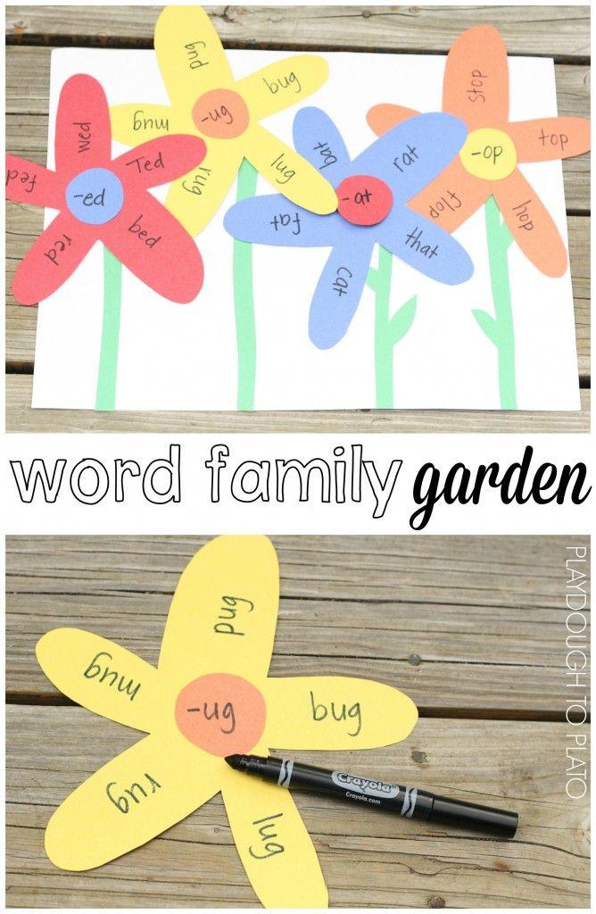 Word Family Garden Playdough To Plato Kindergarten Crafts Word Families Word Family Activities