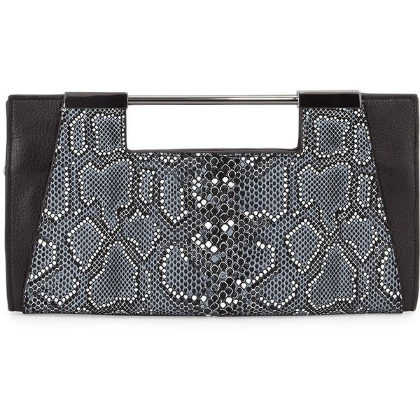 08b7714f27 Halston Heritage Mosaic Python-Embossed Leather Clutch Bag ( 380) ❤ liked  on Polyvore