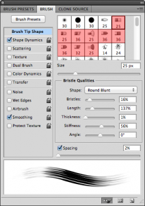 set up rotating brush in PS