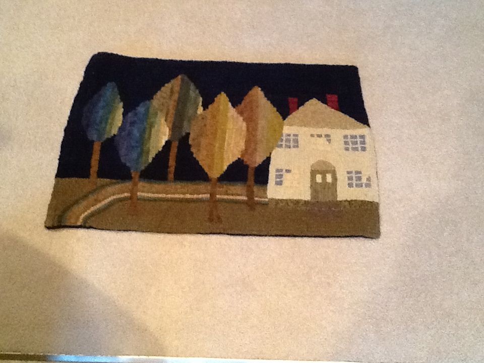 Original design in a Pris Buttler workshop hooked by Mary Jo  This is my very talented friend, Mary Jo's own rug... She is amazing!