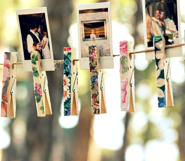 A photo collage is one of the easiest backyard graduation party ideas you can have. Find photos of your child from each year leading up to graduation then clip to twine using decoupaged clothespins.