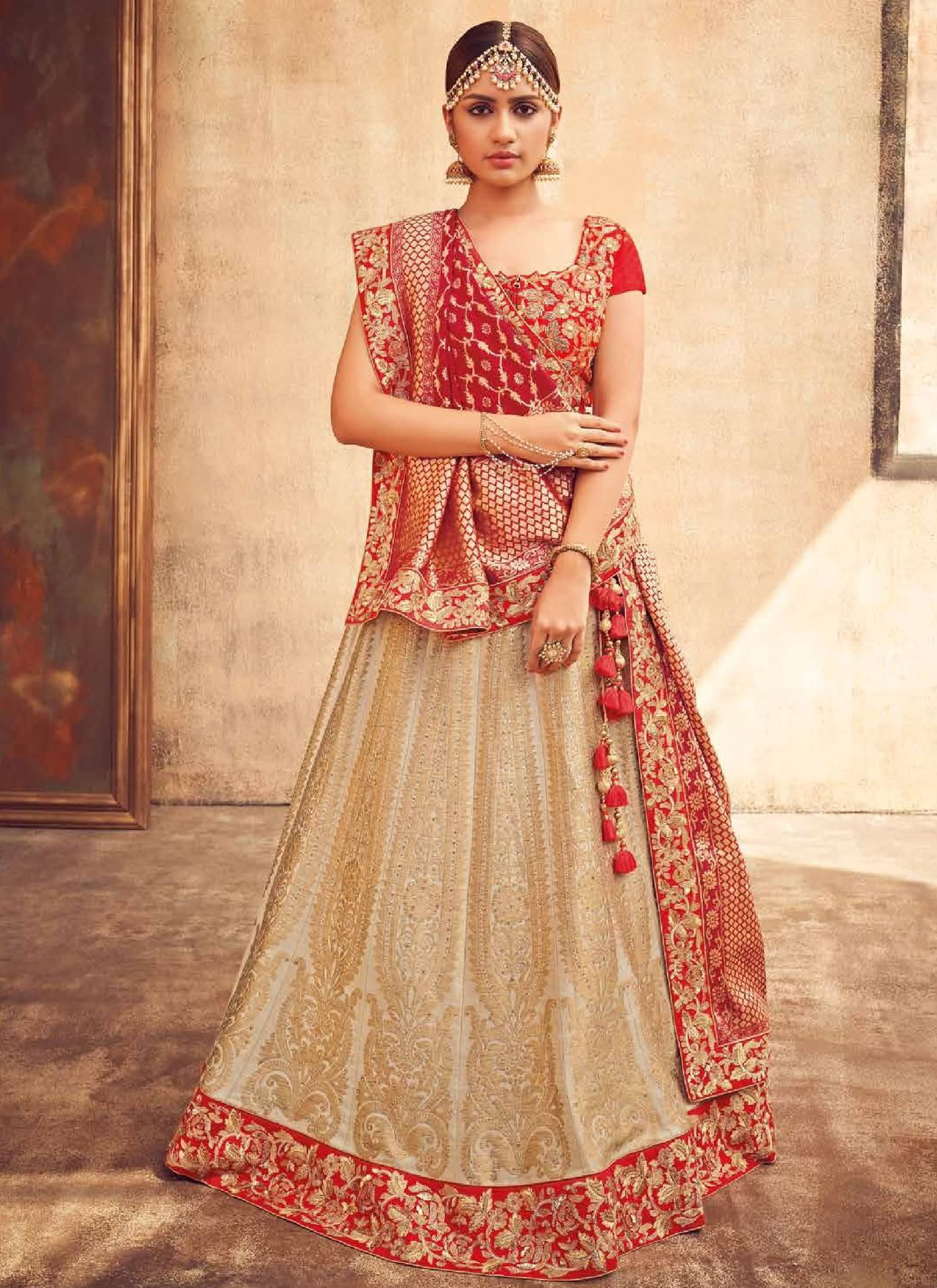 299d01dccb Buy Beige and red Indian silk wedding lehenga in UK, USA and Canada ...