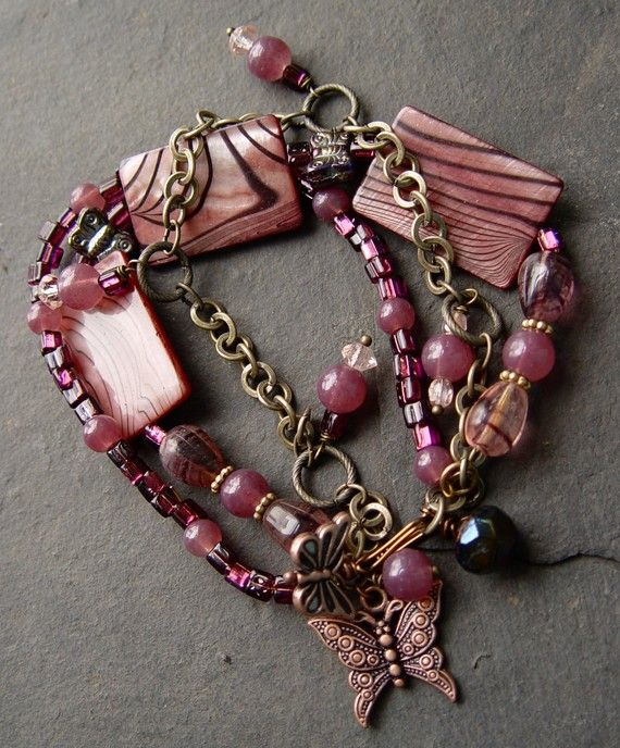 Mother of Purple  Pearl and Glass Bracelet with by jeanawells, $44.50