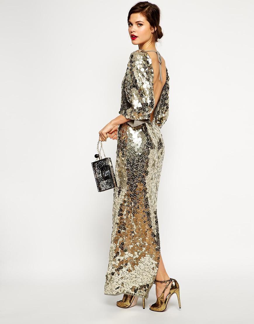68a4fce6f62 Asos Red Carpet Premium All Over Sequin Kimono Maxi Dress At