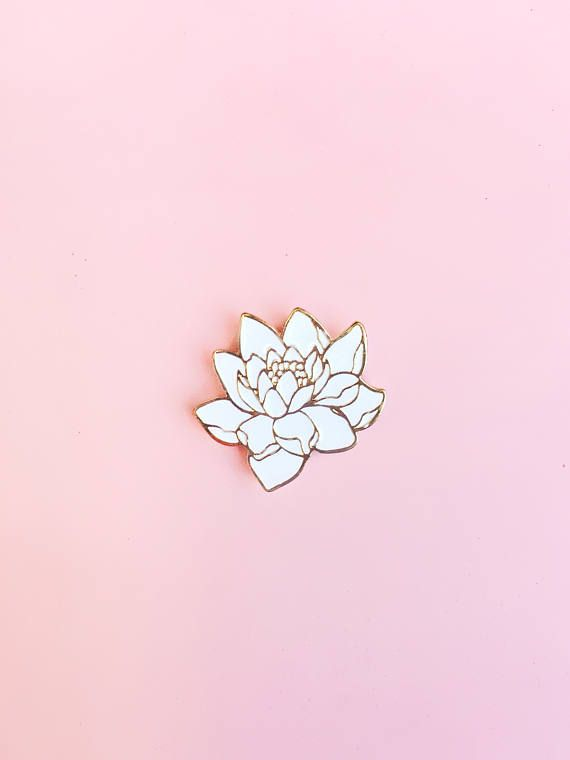 White Flower Gold Enamel Pin, Hat Pin, Lapel Pin, Button, Brooch,