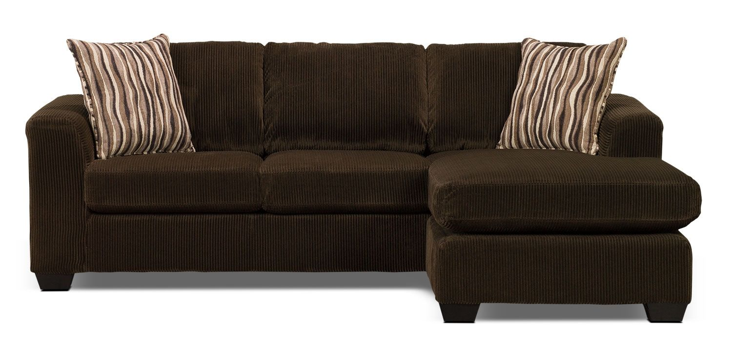 Nina 2 Piece Corded Microsuede Sectional With Chaise