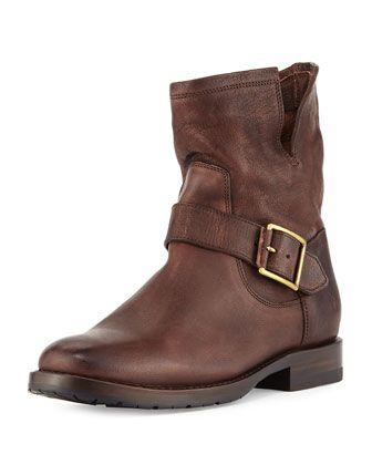 Natalie Short Engineer Boot, Dark Brown by Frye at Neiman Marcus.