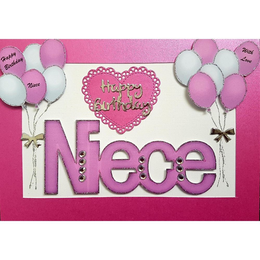 Handmade in UK Luxury Niece Happy Birthday Card Happy