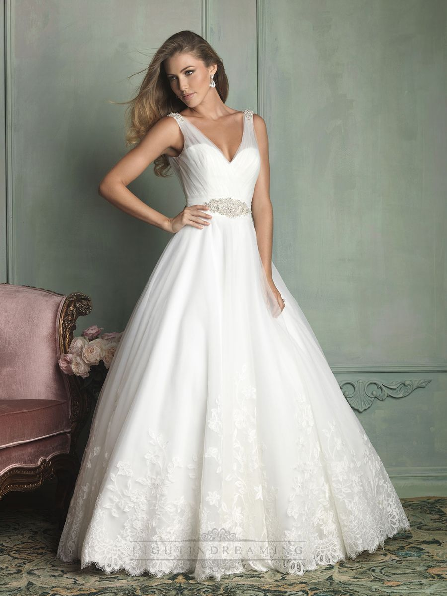 Sheer Straps V Neck And Back Ball Gown Wedding Dress Dresses