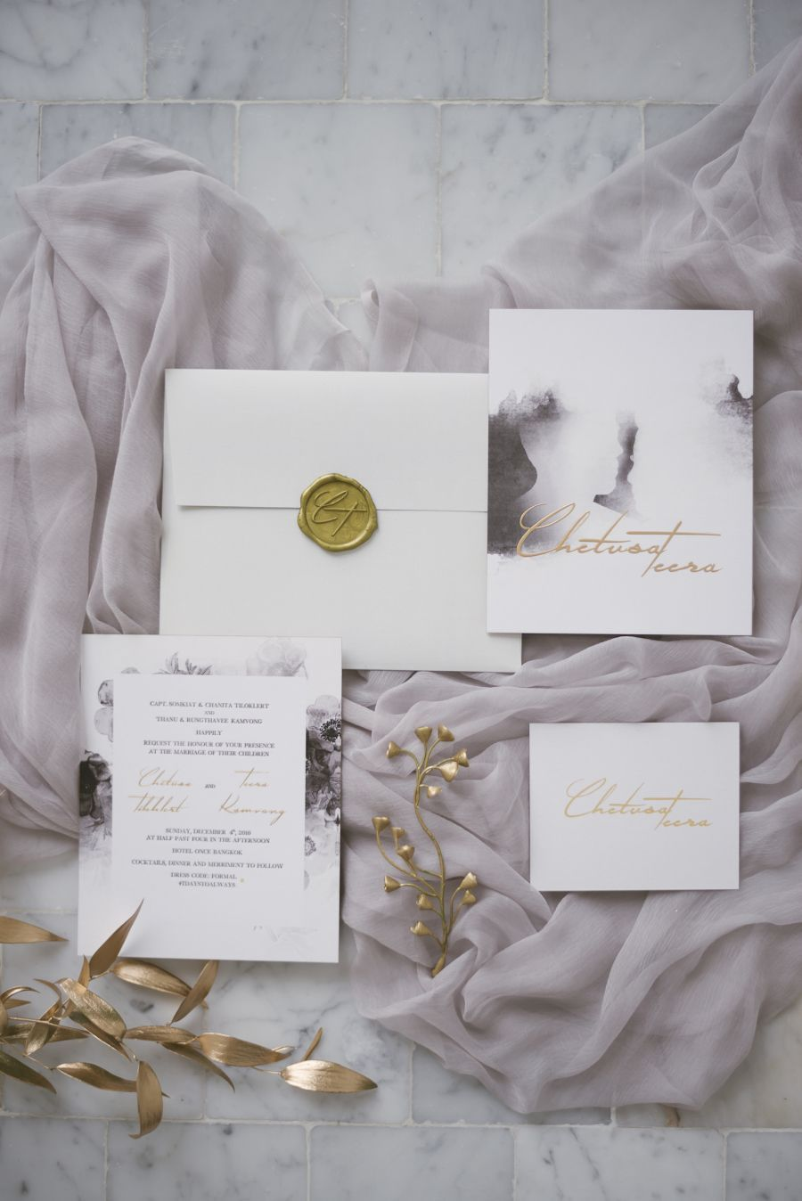 Lilac marble wedding invitation suite Venue Hotel