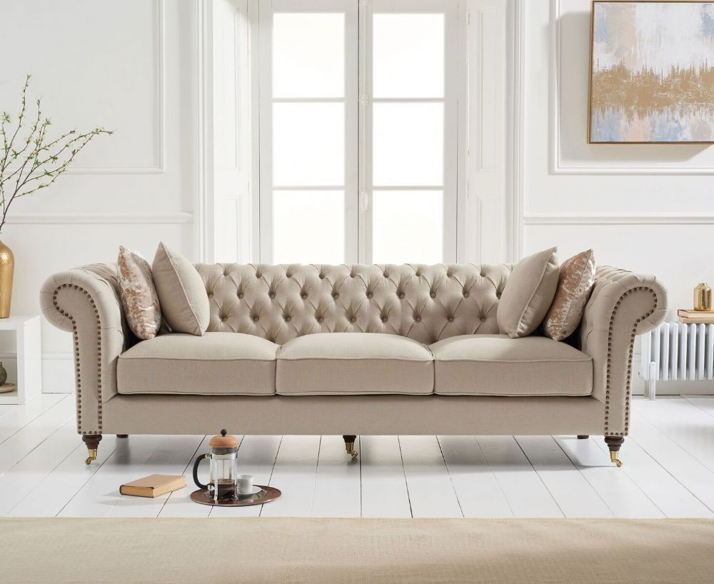 The Camara Chesterfield Beige Linen 3 Seater Sofa Features A Classic And Cosy Design Sure Beige Sofa Living Room Living Room Sofa Chesterfield Sofa Living Room
