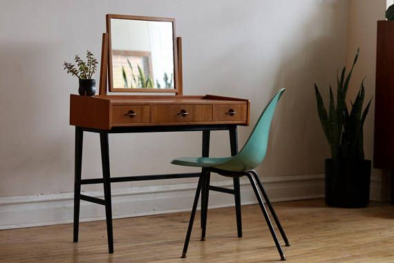 Best Mid Century Modern Danish Teak Vanity With Black Legs 640 x 480